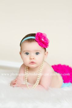 Items similar to Baby Bloomer Ruffle Bum and Headband Photo Prop Set- Hot pink and Turqouise great color combo. on Etsy 6 Month Pictures, 6 Month Baby Picture Ideas, Baby Pictures, Baby Girl Photography, Children Photography, Photography Ideas, Book Bebe, Baby Poses, Baby Girl Photos