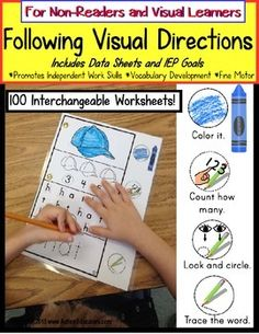 Autism: Autism FOLLOWING VISUAL DIRECTIONS Worksheets for NON-READERS with Data/IEP Goals !!!!! Unbelievable success rate at beginning a work task through completion INDEPENDENTLY!!!!  Perfect for autism and Special Education students.