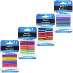 Basic Solutions Assorted Color Hair Elastics, 15-ct. Packs (Set of 4)