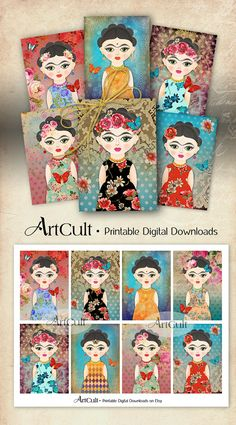 Printable art tags FRIDA KAHLO inspired, whimsical gift tags, print-it-yourself scrapbooking paper for girls party digital sheet by ArtCult Gift Tags Printable, Printable Art, Printables, Ideias Diy, Art File, Mexican Folk Art, Arts And Crafts Projects, Paper Dolls, Summer Crafts