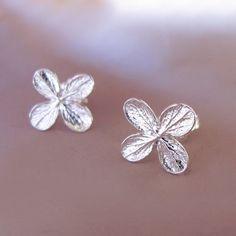 Sterling Silver Flower Post Earrings  Hydrangea by esdesigns, $30.00