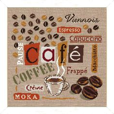 Cafe, Coffee – a modern counted cross stitch chart depicting all types of Coffee, words in French. Cross Stitch Kitchen, Modern Cross Stitch, Cross Stitch Designs, Moka, Cappuccino Cafe, Cross Stitch Bookmarks, Coffee Type, Coffe Bar, Frappe