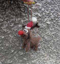 Rudolph the Red nosed reindeer needle felted by FeltBuzz on Etsy