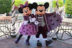purple mickey and minnie mouse | Halloween Mickey and Minnie Mouse