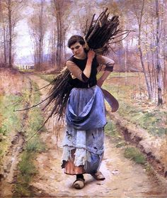 Charles Sprague Pearce The Woodcutter's Daughter hand painted oil painting reproduction on canvas by artist Figure Painting, Painting & Drawing, Double Exposition, Art Ancien, A4 Poster, Vintage Artwork, Art Studies, State Art, American Artists