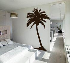 Graphic palm tree wall art interiors