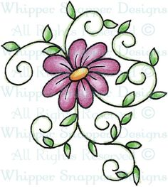 Daisy & Vines - Whimsical - Floral/Garden - Rubber Stamps