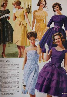 A Little Bit of Everything: It's the Eaton's Catalogue Again - 1961 My sister and I would fight over who would get to look at it first always looked forward to getting it in the mail. 1960s Dresses, 1960s Outfits, Vintage 1950s Dresses, Vintage Outfits, Vintage Clothing, 60s And 70s Fashion, Fifties Fashion, Retro Fashion, Vintage Fashion