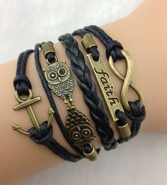 Love these new style bracelets. NEW Black Anchor Owl Faith Infinity Bracelet, Multi Wrap Bracelet, Black Leather Bracelet Owl Jewelry, Cute Jewelry, Jewelry Accessories, Fashion Accessories, Fashion Jewelry, Silver Jewelry, Animal Jewelry, Anchor Jewelry, Black Jewelry