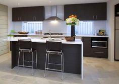 dark cabinets, light tile floor