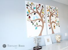 DIY art - paint the tree trunk and branches, and cut out 'leaves' from magazines.  Any color scheme you want! Maybe use 4 canvases and do all four seasons?