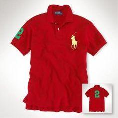 5aede3cb60d55 Custom-Fit Big Pony Polo d équipe In Red Ralph Lauren Uk