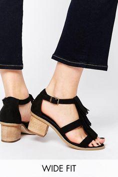 21 Legitimately Cute Shoes For Ladies With Wide Feet. Fringe SandalsT Strap  SandalsMid Heel SandalsShoes SandalsBlack ...