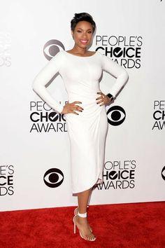Favorite Humanitarian Award winner Jennifer Hudson looks elegant in this Kaufmanfranco white dress at the People's Choice Awards.