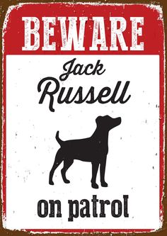 Beware Jack Russell On Patrol - Tin Sign: Amazon.co.uk: Pet Supplies