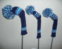 Golf Clubs Vintage Hand Knit Golf Club Covers- Vintage Style Golf Club Covers with Pom Pom: Set of 3 for Driver, and Navy, Gray and Neon Blue Best Golf Clubs, Golf Clubs For Sale, Golf Club Head Covers, Golf Club Sets, Best Golf Irons, Golf R Mk7, Golf Wedges, Golf Card Game, Golf Chipping Tips