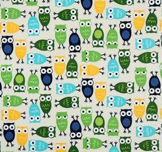 cute white owls fabric Robert Kaufman kawaii 2