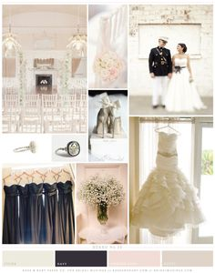 navy and pale pink wedding inspiration board by Rose & Ruby Paper Co.