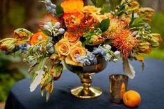 Beautiful flower arrangement...blue orange and yellow garden designs | ... Flowers: Pincushion Protea - Elizabeth Anne Designs: The Wedding Blog