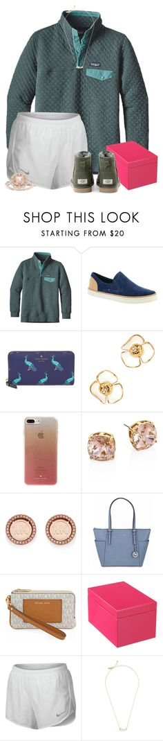 """""""happiness is a warm puppy"""" by preppypetunia ❤ liked on Polyvore featuring Patagonia, UGG, Kate Spade, Tory Burch, Michael Kors, NIKE and Modern Bride"""