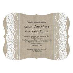Lace & Burlap Wedding Invitation