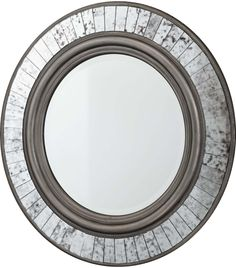 "Silver Finish Round 30"" Wide Wall Mirror -"