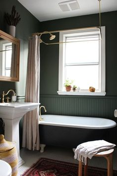 Backwoods paint color by Benjamin Moore. Modern Vintage Clawfoot Bathroom Makeover — The Marion House Book Bathroom Themes, Bathroom Interior Design, Home, Vintage Bathroom, Dark Green Bathrooms, Victorian Bathroom, Bathroom Renovations, Clawfoot Tub Bathroom, Clawfoot Bathroom