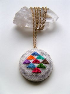 Golden Triangle Cross Stitched Pendant Necklace by GammaFolk on etsy
