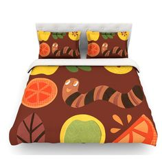 East Urban Home Autumn Repeat by Jane Smith Bugs Featherweight Duvet Cover Size: King/California King, Fabric: Woven Polyester