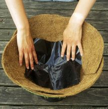 Plant a Flowering Hanging Basket: Insert an Irrigation Helper Hanging Baskets, Straw Bag, Serving Bowls, Bowls