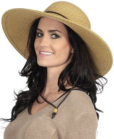 1107b274b4e Women s UPF 50+ Wide Brim Braided Straw Sun Hat with Lanyard - Natural-brown