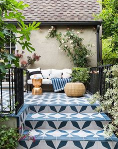 Patio (with the tile!) + Shop The Look The Finished Patio (with the tile!) - Emily HendersonThe Finished Patio (with the tile! Backyard Retreat, Backyard Patio, Backyard Landscaping, Backyard Ideas, Garden Ideas, Landscaping Ideas, Garden Inspiration, Porch Ideas, Cozy Patio