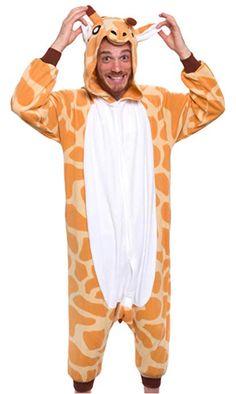 Giraffe onesie. Easy adult animal Halloween costume 0da9ed58c