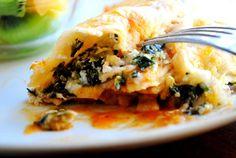 Vegetarian Enchiladas....frozen chopped spinach, cottage ch, Greek yogurt, red enchilada sauce....