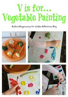 A really fun vegetable paining sensory play activity. www.GoldenReflectionsBlog.com