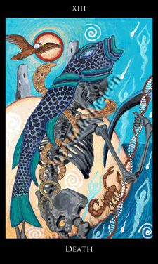 Trump 13 (Death) from Rosetta Tarot, a beautiful Thoth-inspired deck with great colors. #tarot