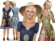 Beautiful peasant dress with one recolorable part, new mesh.  Found in TSR…