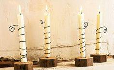 Candelabros rústicos para velas artesanales
