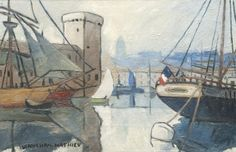"""LOUIS MATHIEU VERDILHAN (French, 1875-1928) - """"The entrance to the port of Marseille"""""""