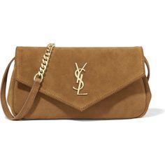 Saint Laurent Monogramme Envelope small suede shoulder bag (1,280 CAD) ❤ liked on Polyvore featuring bags, handbags, shoulder bags, bolsas, ysl, brown, embellished handbags, suede handbags, suede purse and brown suede purse