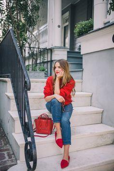 "Outfit Details: Demylee Sweater, J.Crew Jeans, Schutz Flats, Celine Bag, Bobbi Brown Lipstick in ""Red"", Zanzan Sunglasses"