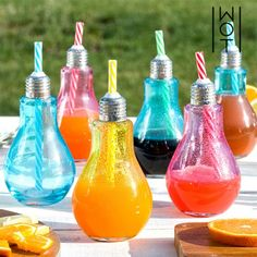 Wagon Trend 250 ml Coloured Light Bulb Drinking Glasses with Straws (pack of 6)