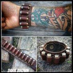 Six Shooter Genuine Leather Bracelet Snap Closure, Leather - Cowboy Leather Company, Cold Dead Hands   - 1
