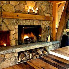 rock fireplace with wood storage under | Via ♥️~ℳⓐℛÿ ℬ~♥️