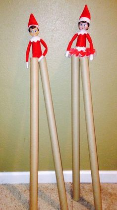 Elf on the Shelf Stilts Chippy and candy are walking high on wrapping paper stil. - Buddy The Elf Elf On The Shelf, A Shelf, Shelves, Shelf Elf, All Things Christmas, Christmas Holidays, Christmas Wrapping, Funny Christmas, Christmas Ideas
