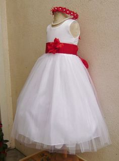 WHITE flower girl dress more than 20 sash and flower colors Red  004A