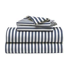 New Stripe Sheet Set, Queen, White/Dusty Navy $99. pillowcases only: 19 or 24, standard or king