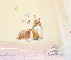 Deer Family Wall Decals, Deer and Butterflies Fabric Wall Stickers ( Not Vinyl, PVC free )