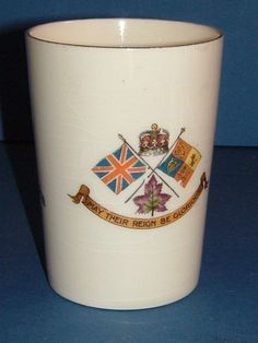 1911 Crown Devon S Fielding Commemorative Beaker Coronation of King George V & Queen Mary