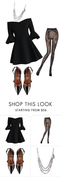 """""""Anita Greene"""" by livhansonxx ❤ liked on Polyvore featuring Chicwish, Wolford, RED Valentino and Kieselstein-Cord"""